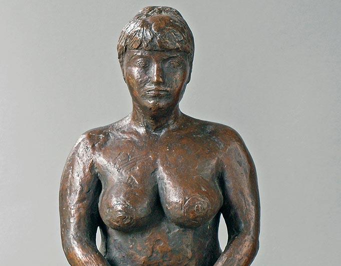 sitzende weibliche Figur aus Bronze von Klaus Kütemeier