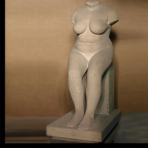 stizende weibliche Steinfigur von Klaus Kütemeier