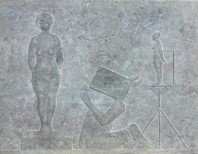 Stein-Relief mit Atelierszene von Klaus Kütemeier