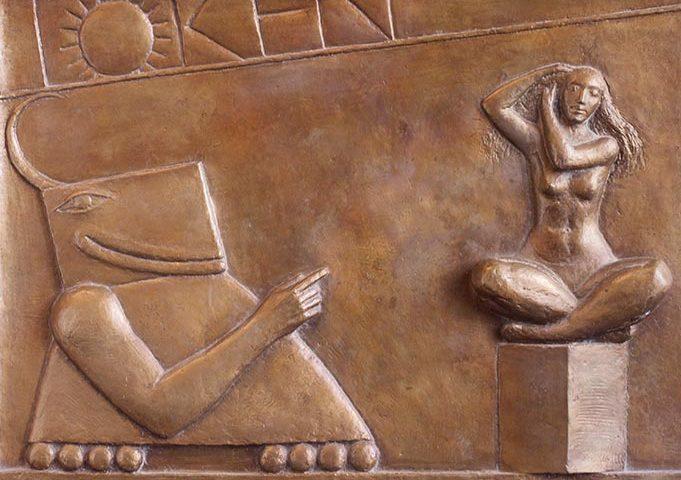 Relief aus Bronze mit Frau und Fabelwesen von Klaus Kütemeier