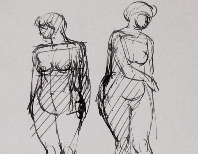 Frauenstudie,Tusch-Federzeichnung von Klaus Kütemeier