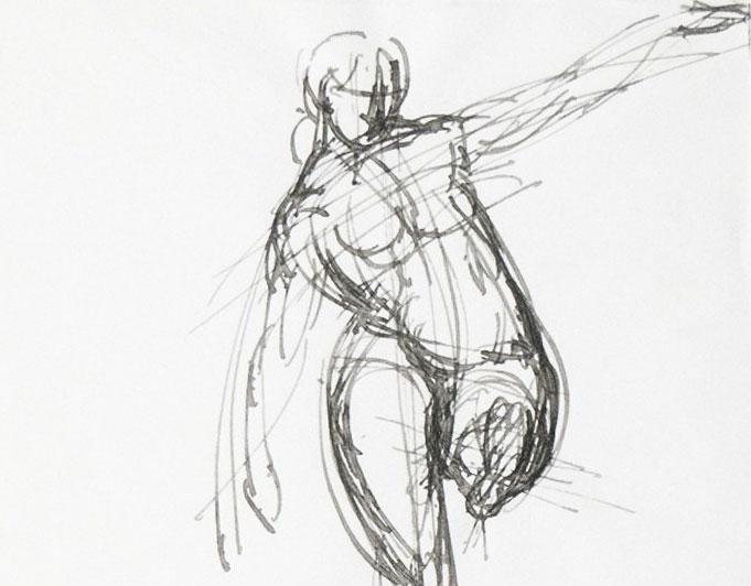 Frauenstudie Tusche-FEderzeichnung von Klaus Kütemeier
