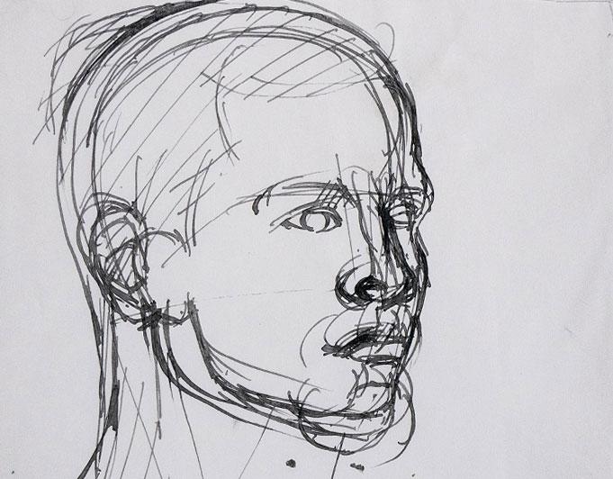 Männerkopf, Tusche-Federzeichnung von Klaus Kütemeier